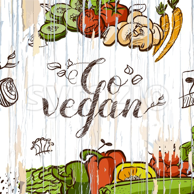 Go vegan vintage food illustration. Hand-draw vector food sketch.
