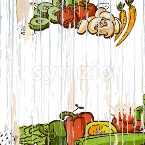 vegetables on wooden background Stock Vector