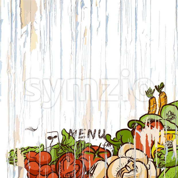 Vegetables on wood menu background. Vector food illustration.