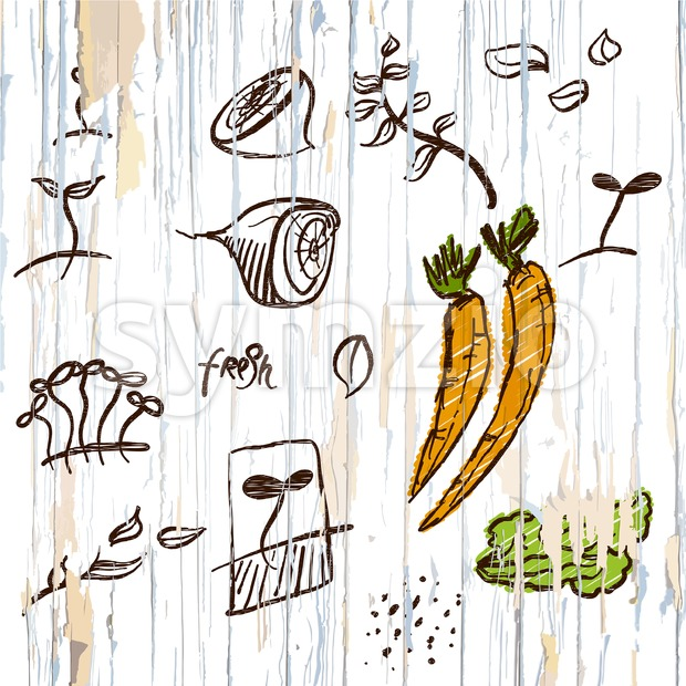Sketched vegetables menu background. Vector food illustration.