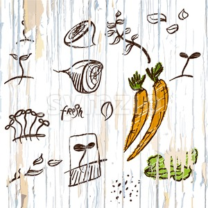 Sketched vegetables menu background Stock Vector