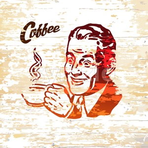 Vintage coffee men icon on wooden background Stock Vector