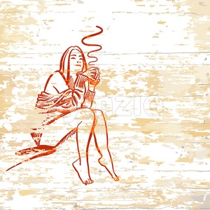 Vintage girl drinking coffee on wooden background Stock Vector