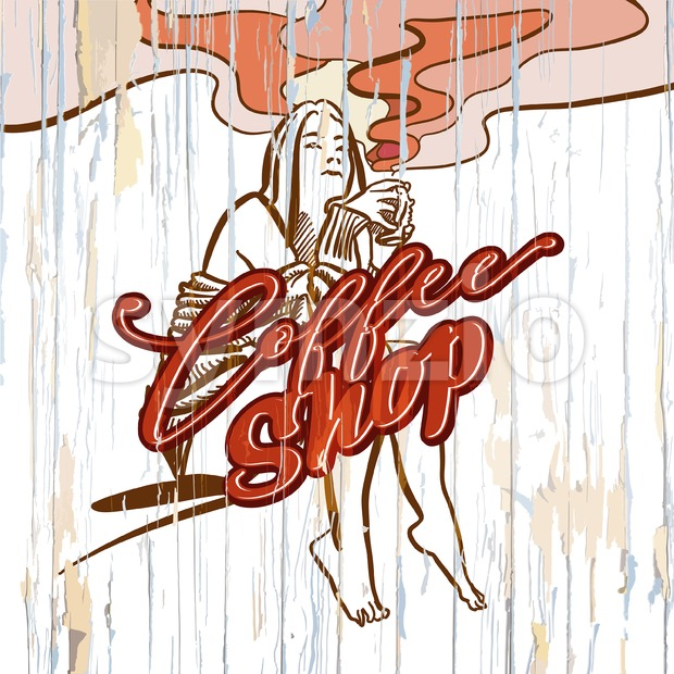 Coffee shop girl drawing on wooden background. Vector illustration drawn by hand.
