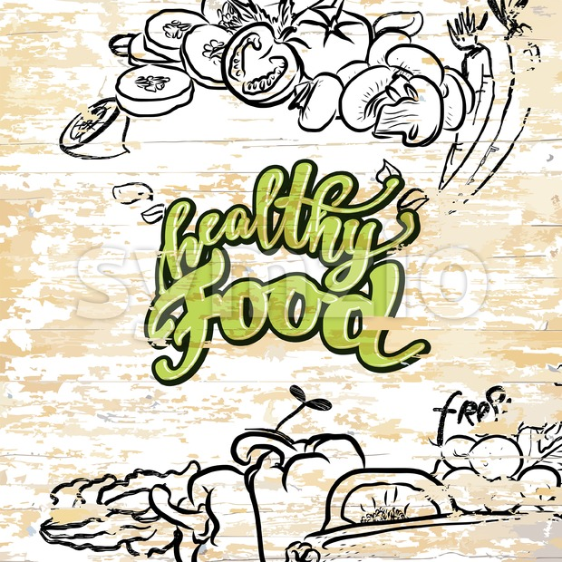 Healthy food drawing on wooden background. Vector illustration drawn by hand.