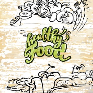 Healthy food drawing on wooden background Stock Vector