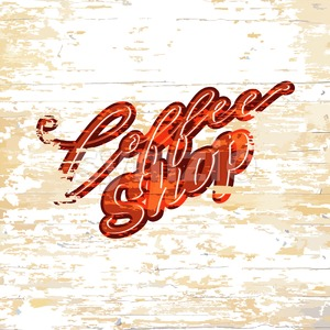 Coffee shop lettering on wooden background Stock Vector