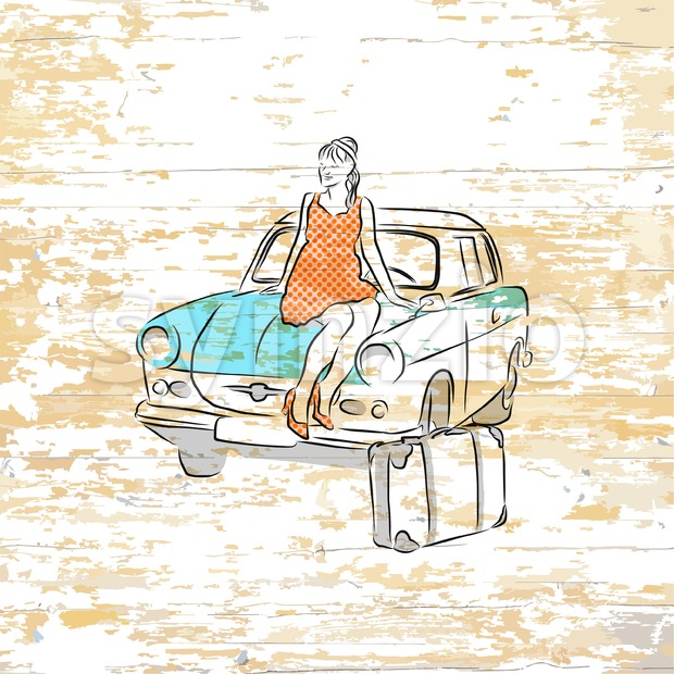 Vintage girl and car drawing on wooden background. Vector illustration drawn by hand.