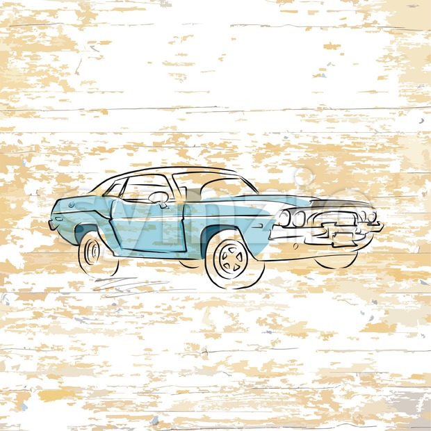 Vintage car drawing on wooden background Stock Vector