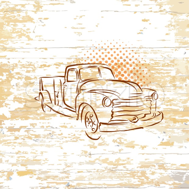 Vintage pickup truck on wooden background Stock Vector