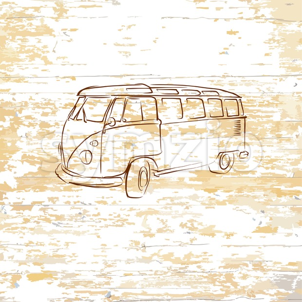 Vintage bus drawing on wooden background Stock Vector