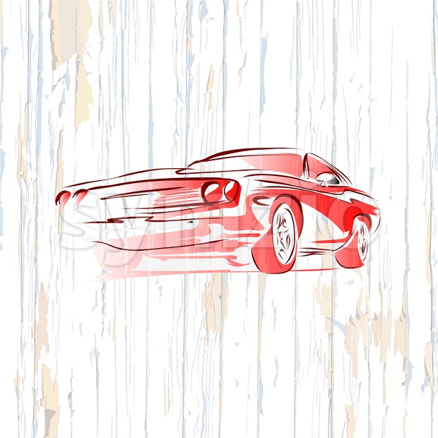Vintage muscle car drawing on wooden background Stock Vector