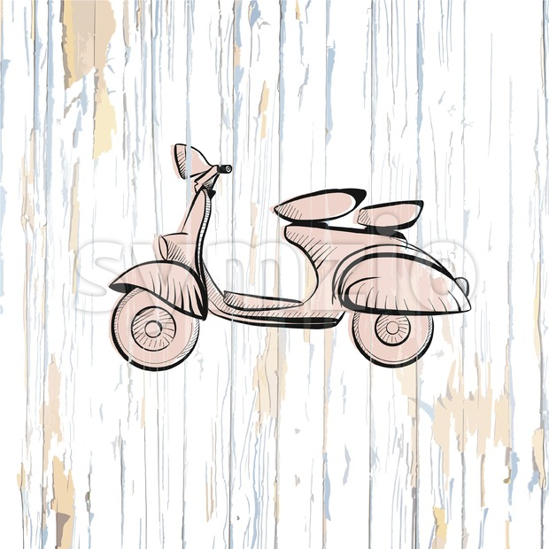 Vintage scooter drawing on wooden background Stock Vector