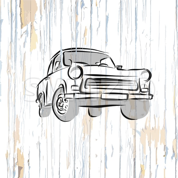 Vintage german car on wooden background. Vector illustration drawn by hand.