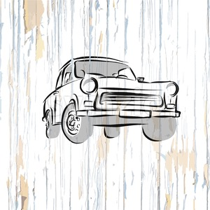 Vintage german car on wooden background Stock Vector