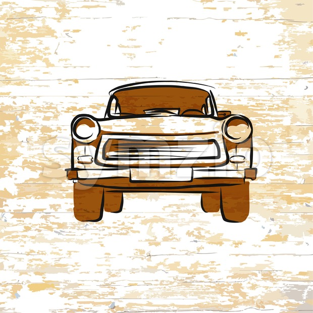 Vintage german car icon on wooden background. Vector illustration drawn by hand.