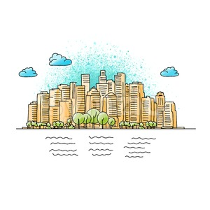 Hand drawn and colored Generic City Skyline Stock Vector