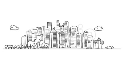 Generic City Skyline with various trees Stock Vector