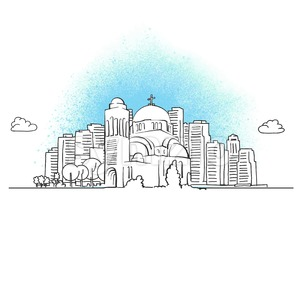 city skyline with orthodox church Stock Vector