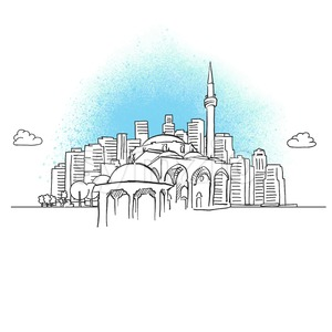 City skyline with historic mosque Stock Vector