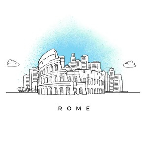 City skyline with Coliseum in Rome Stock Vector