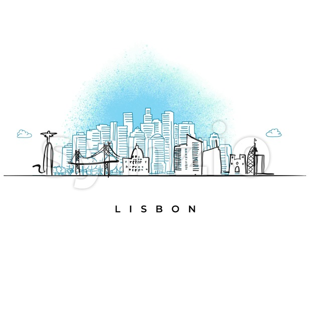 City skyline of Lisbon, Portugal Stock Vector