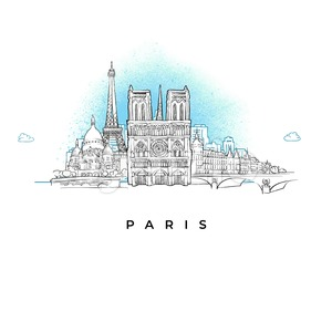 City skyline of Paris, France Stock Vector