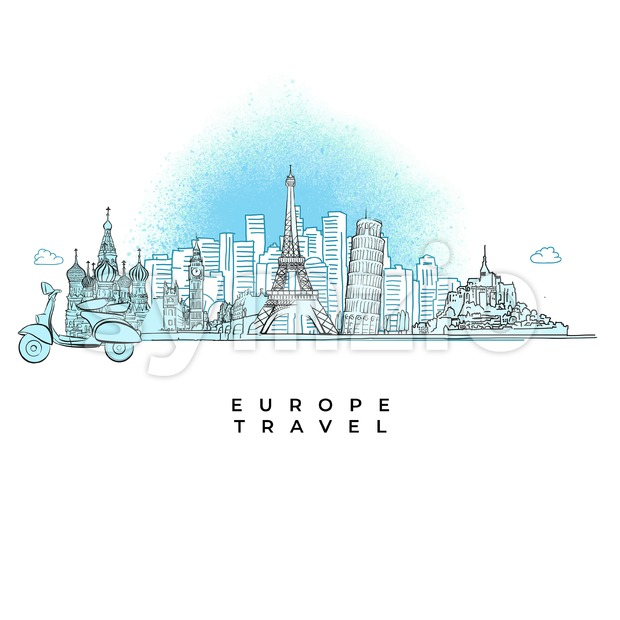 Europe Travel concept City skyline Stock Vector