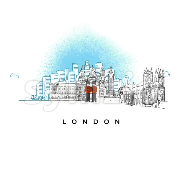City skyline of London, UK Stock Vector