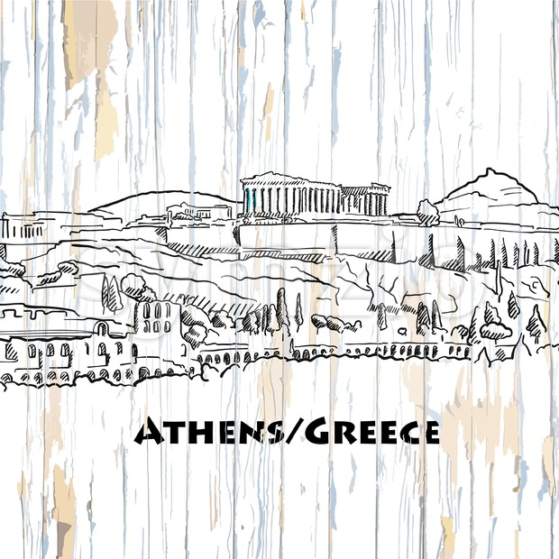 Vintage athens skyline drawing. Vector illustration on vintage background.