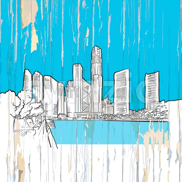 Singapore drawing on wood Stock Vector