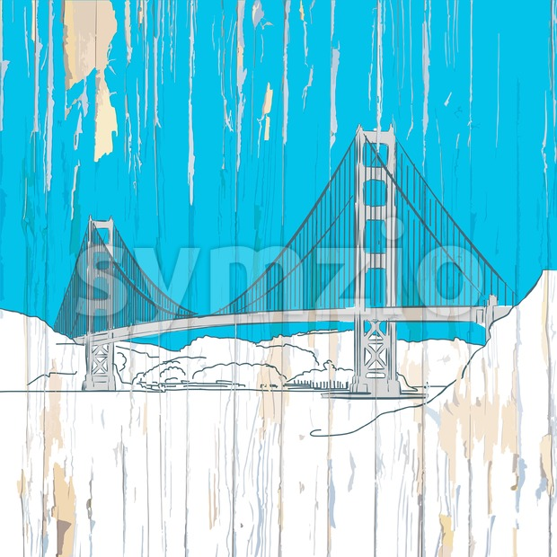 Golden gate bridge drawing on wood Stock Vector