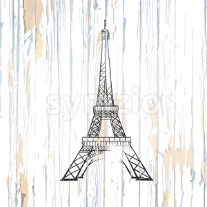 Eiffel tower drawing on wood Stock Vector
