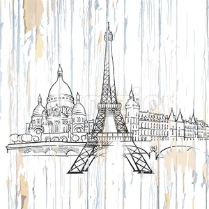 Paris drawing on wood Stock Vector