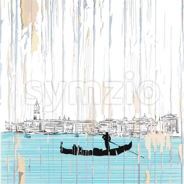 Venice drawing on wood Stock Vector