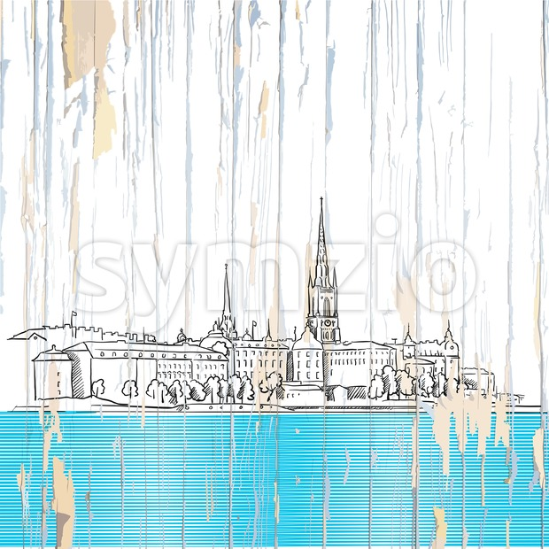 Stockholm drawing on wwod. Vector illustration on vintage background.