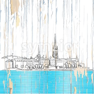 Stockholm drawing on wwod Stock Vector