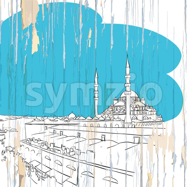 Istanbul drawing on wood Stock Vector