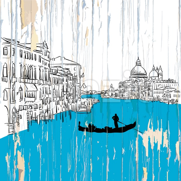 Venice canale drawing on wood Stock Vector