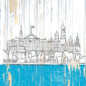 Moscow kremlin drawing on wood Stock Vector
