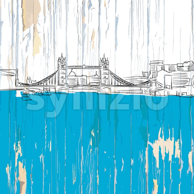 London tower bridge drawing. Vector illustration on vintage background.