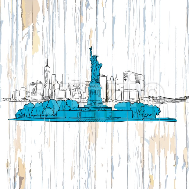 Liberty island sketch on wooden background. Vector illustration on vintage backdrop