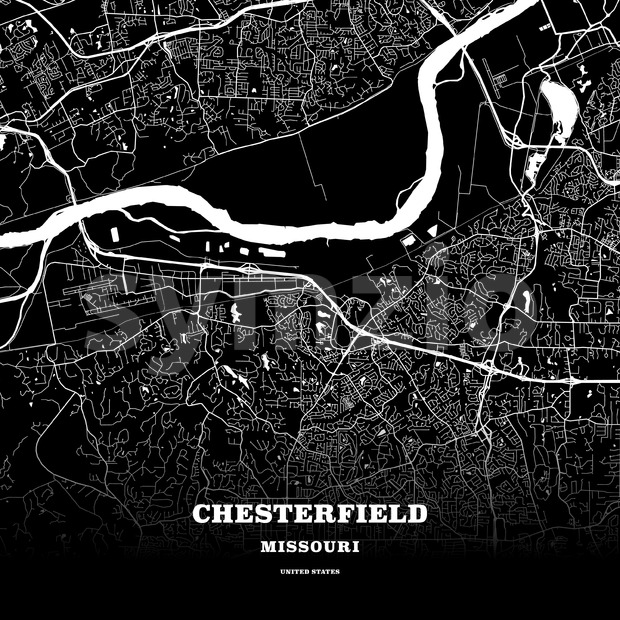 Black map poster template of Chesterfield, Missouri, United States.