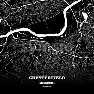 Black map poster template of Chesterfield, Missouri, USA Stock Vector