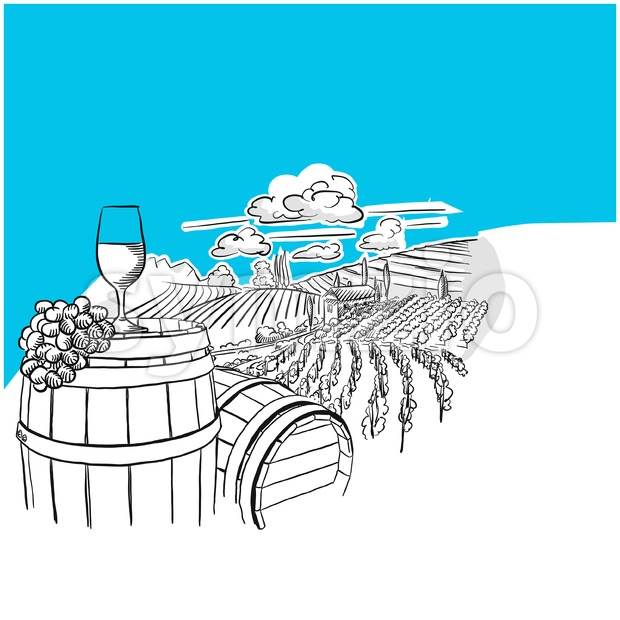 Vineyard landscape with glass drawing, hand-drawn vector food illustration for vine label and social media marketing