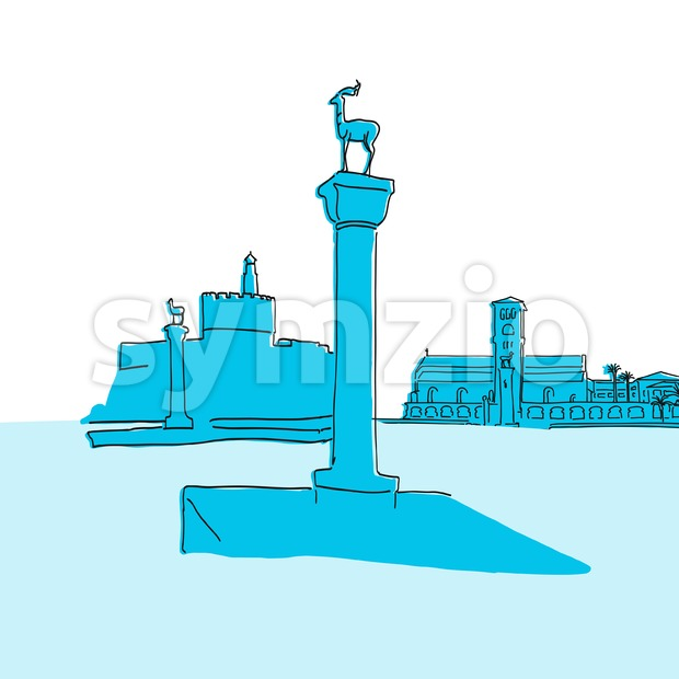 Rhodes Greece old harbror sign. Hand-drawn vector illustration. Famous travel destinations series.