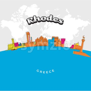 Rhodes Greece colorful panorama Stock Vector