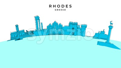 Rhodes Greece panorama. Hand-drawn vector illustration Stock Vector