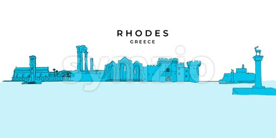 Rhodes Greece panorama drawing Stock Vector
