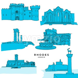 Rhodes Greece landmarks drawings filled Stock Vector